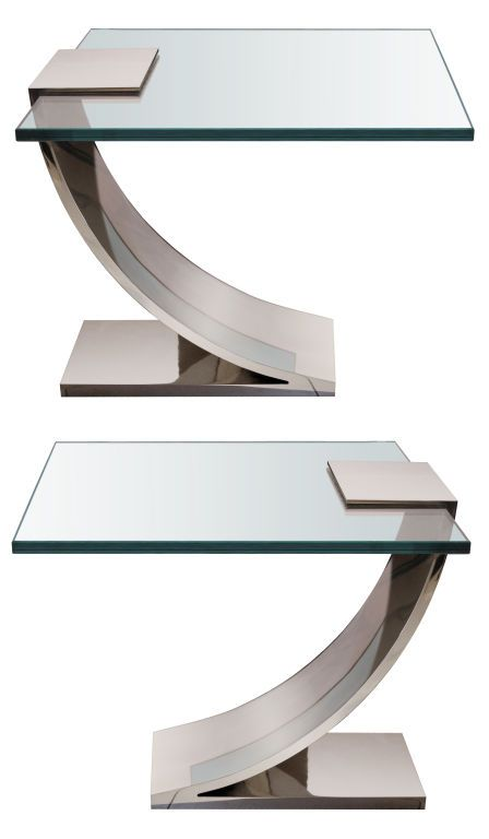 Pair Of Polished Nickel And Glass Side Tables In 2019 Love