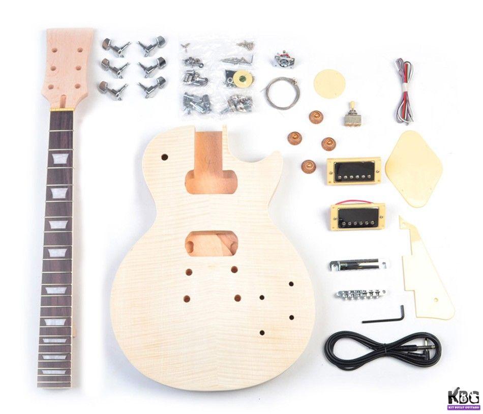 Diy Lp Build Your Own Guitar Kit Mahogany Body Flamed Maple Kbg Lp Mt Guitar Kits Build Your Own Guitar Guitar