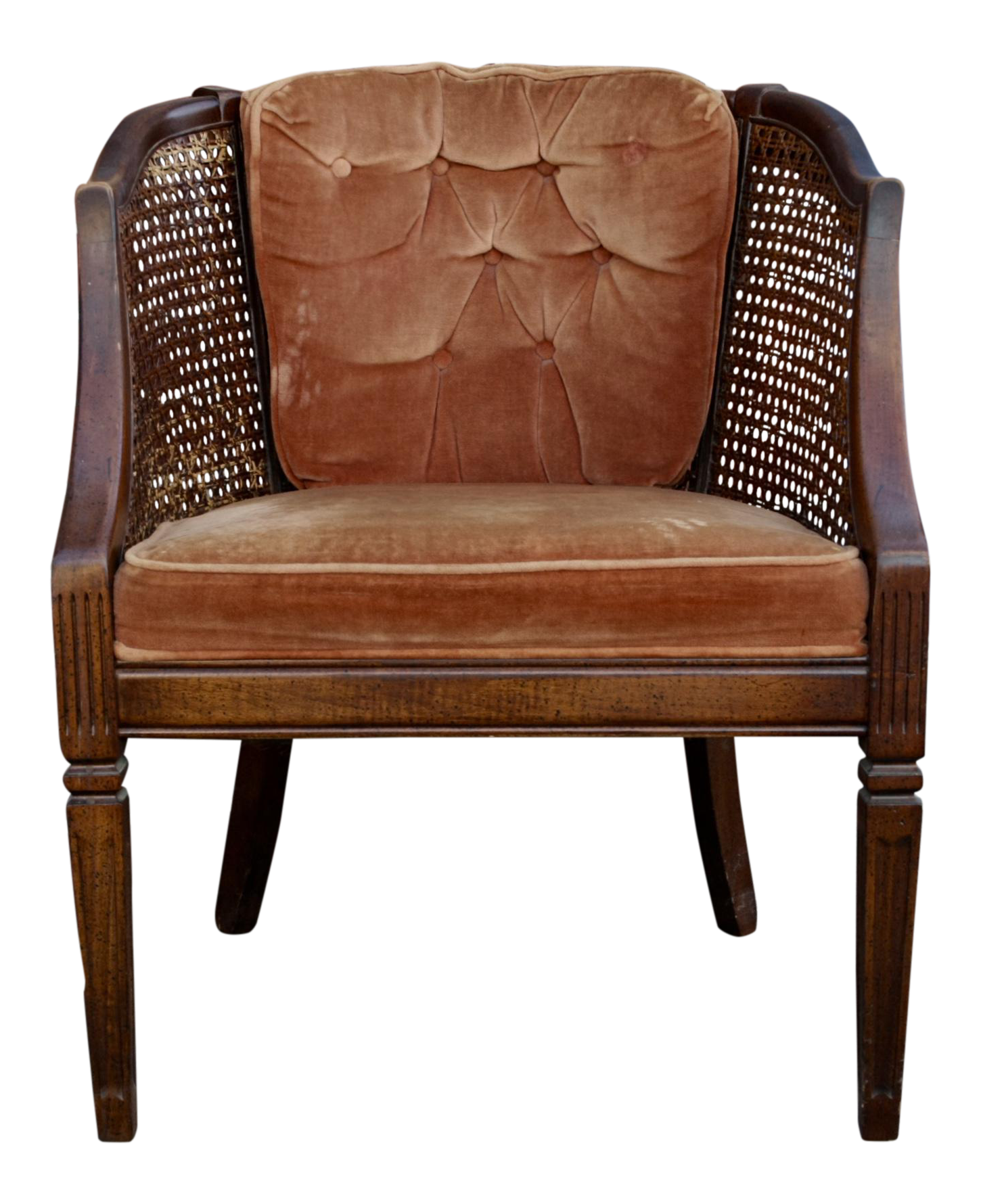 Sturdy Wood & Cane Chair with Velvet Upholstery Chair