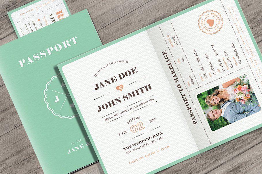 Pastel Passport Wedding Invitation Kartu Undangan