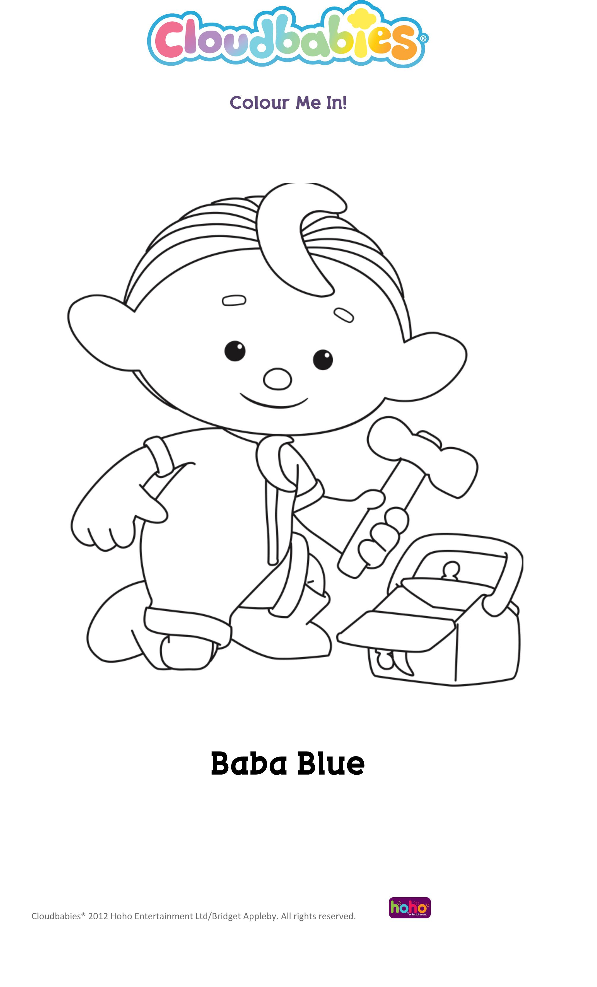 baba blue from cloud babies colouring sheets pinterest cloud