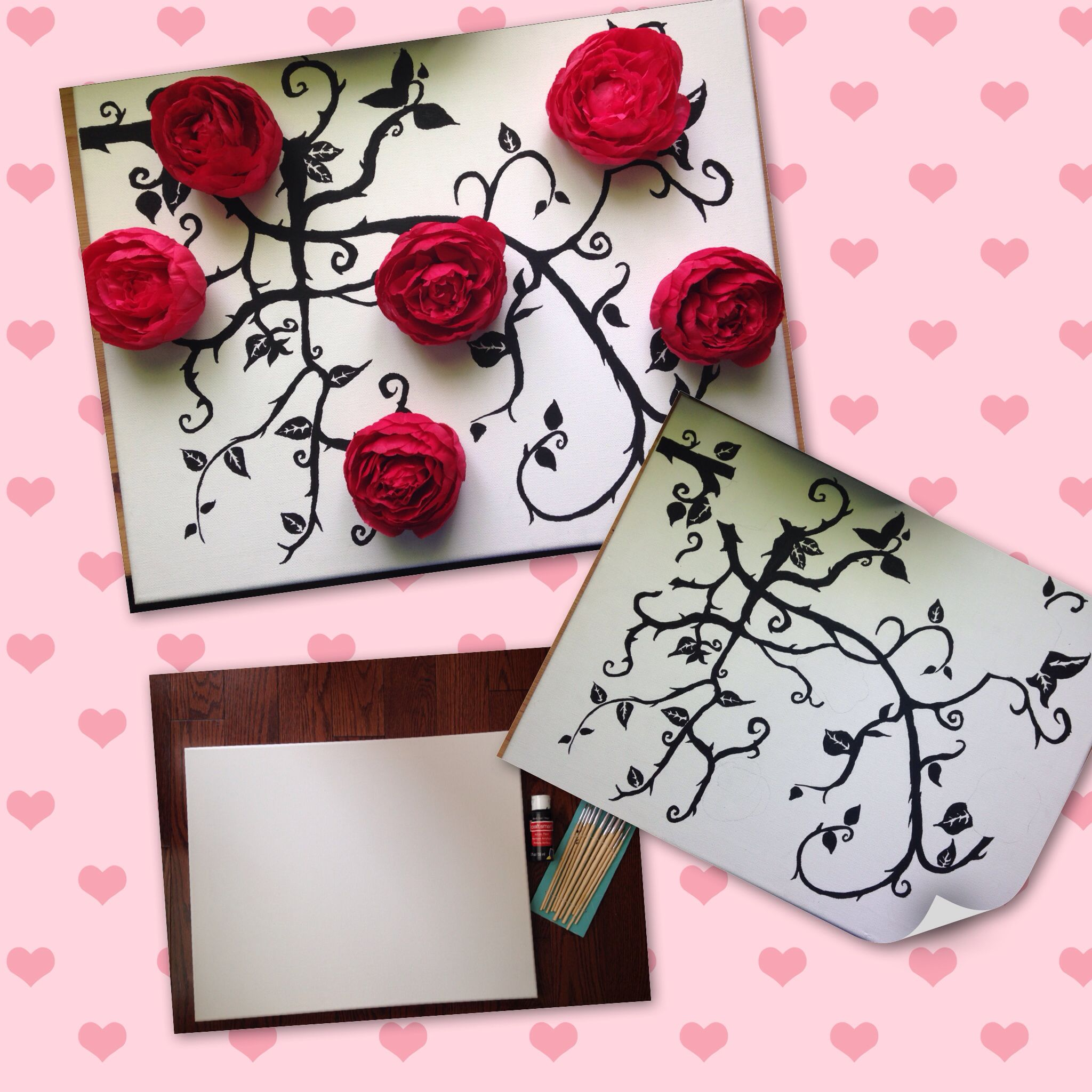 3D Floral wall art project. Simple,yet elegant and easy to do!
