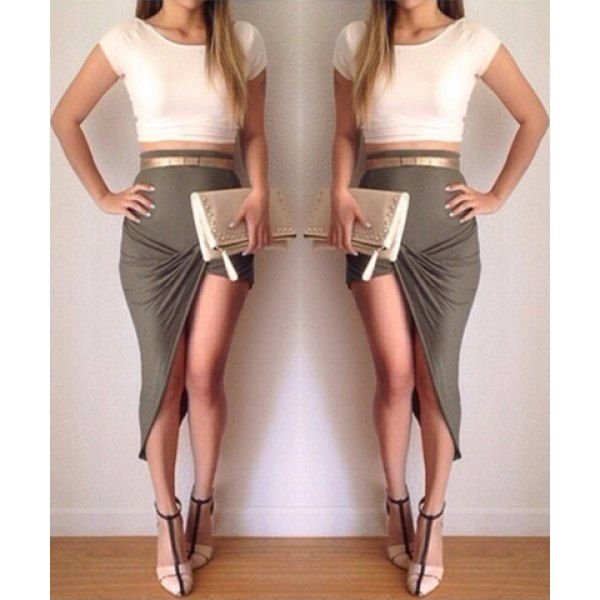 Stylish Scoop Collar Short Sleeve Crop Top   High-Waisted ...