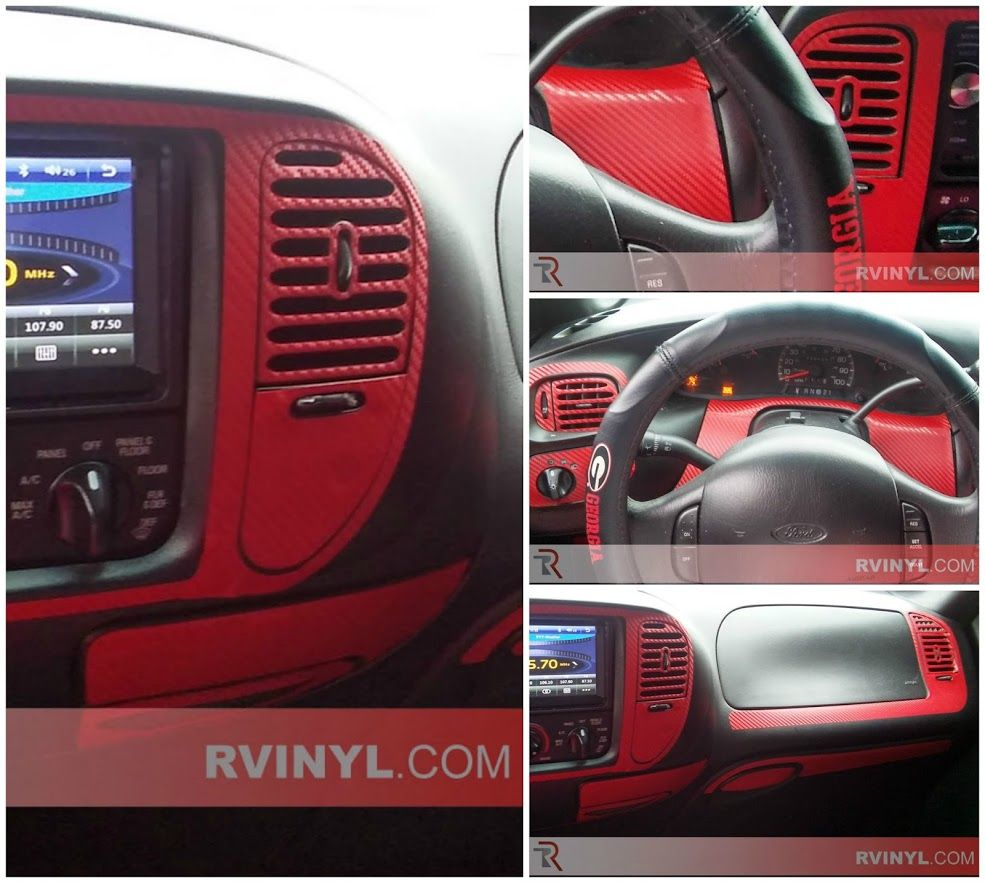 Http www rvinyl com ford f 150 1997 1998 dash kits html sierra s 1998 ford f 150 looks great in a custom red carbon fiber dash kit