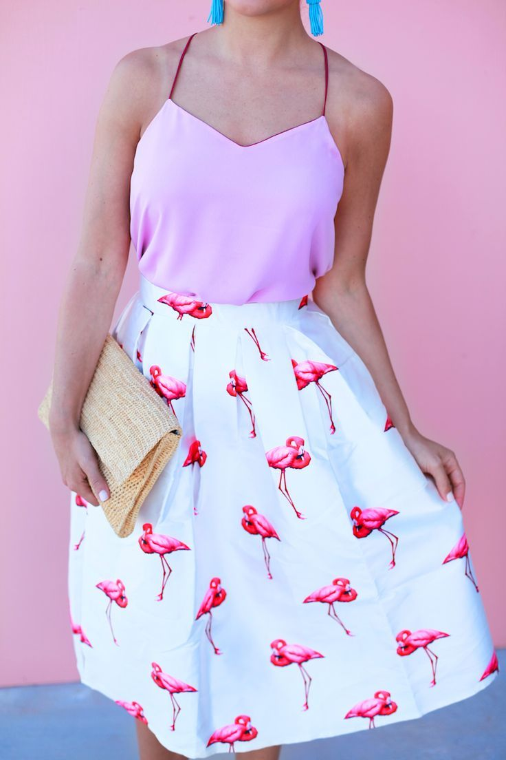 Pink Flamingos White Skirt And Top Fashion Trends For Summer