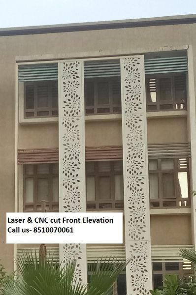 Front Elevation Steel Design : Grc jali and laser cut front elevation in delhi noida