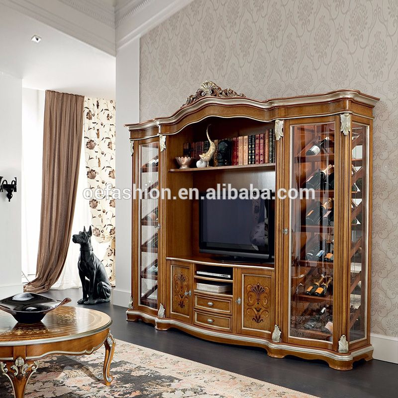 Oe Fashion New Classic Wood Carving Tv Stand With Wine Cabinet For