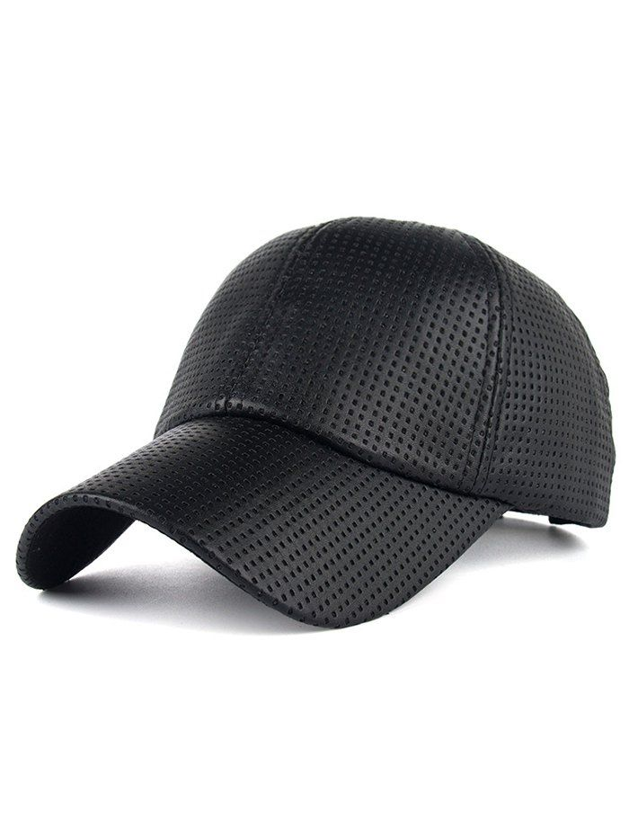 Breathable Pu Leather Small Holes Design Baseball Hat Baseball Hats Leather Hat Baseball Hats