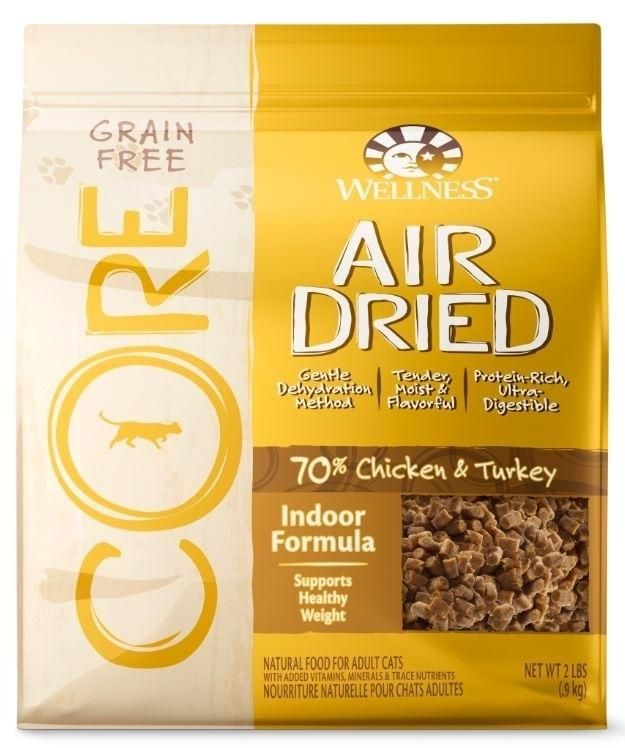 Grain-free CORE Air Dried Indoor is an ultra-digestible cat food with 70% of delectable protein ingredients in every bite. It's a protein-rich meaty topper, treat or complete, balanced meal that can help support your cat's optimal health. <br /> <br /> -Supports healthy weight for less active cats with an indoor lifestyle<br /> -Supports whole-body health with omega fatty acids, glucosamine and chondroitin<br /> -No meat by-products or fillers (see all ingredients below)<br /> -No grain…
