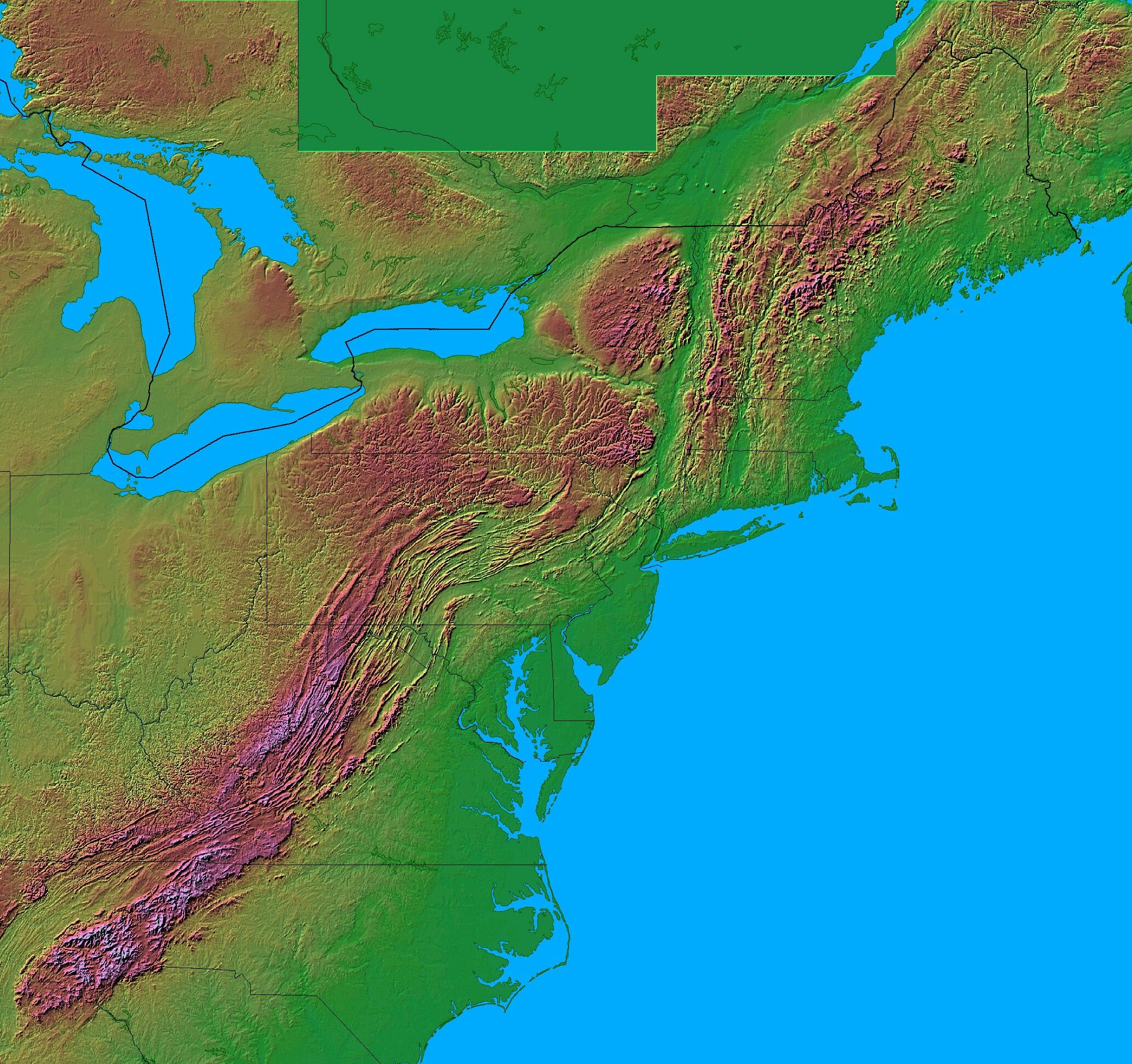 topographic map of appalachian mountains Satellite Photograph Of The Cheseapeake Bay And Appalachian