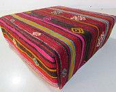 Kilim Floor Pillow Kilim Pouf Outdoor Pouf Seating Kilim Poof