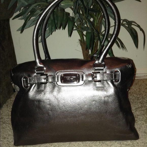 e7cefbef869c Michael Kors Hamilton Weekender Satchel Bag NWOT. Rare Gunmetal Color.  Leather with metallic finish