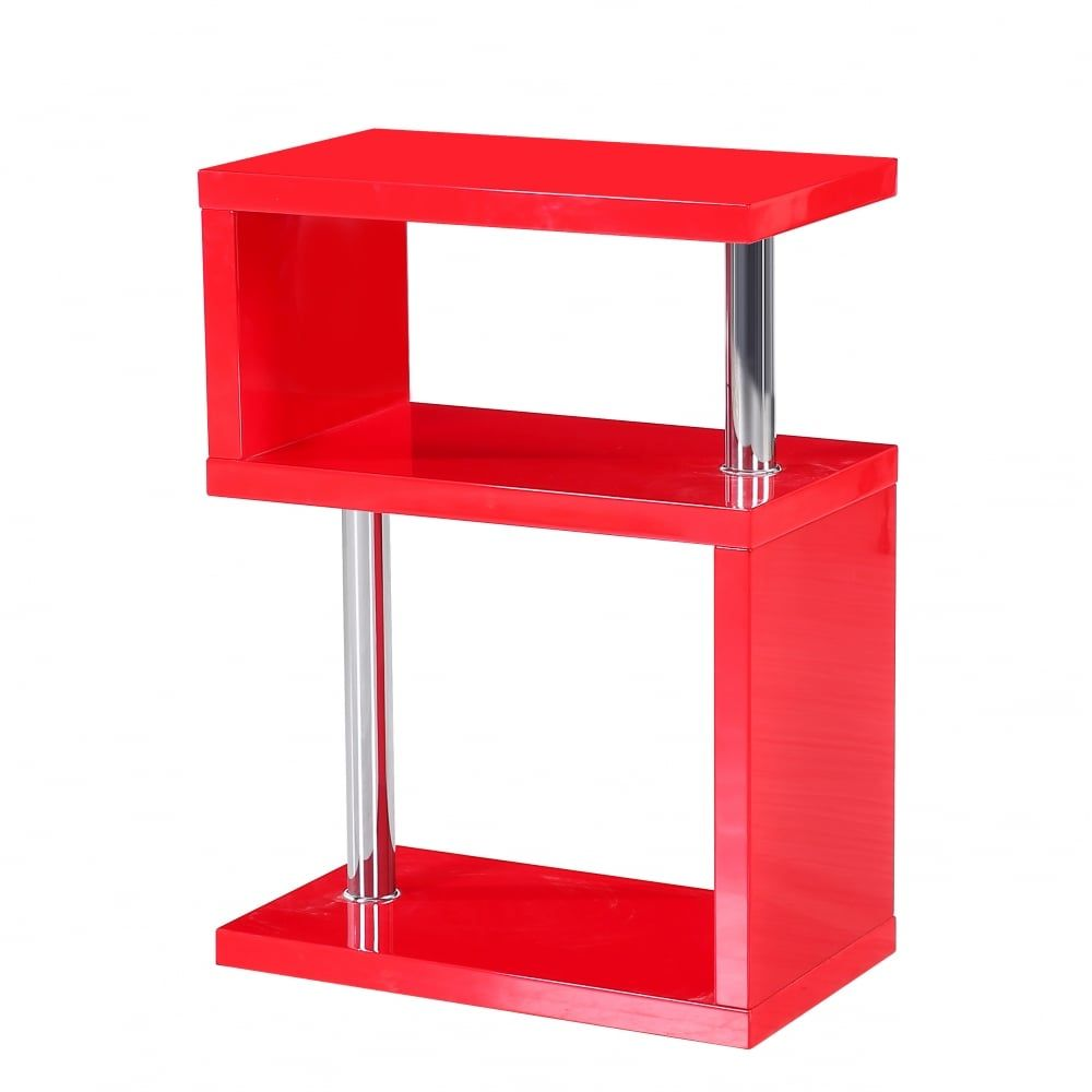 Mfs Furniture Miami Red High Gloss Side Table Comes In A High Glass Finish In A 3 Tier Design Ideal For Displaying Ornaments Or Vas Side Table Table Red High