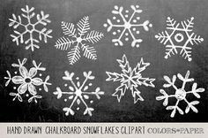Chalkboard Hand Drawn Snowflakes Clipart Photoshop Brushes And Stamps Download Personal And Limited Commercial Use Snowflakes Drawing Christmas Chalkboard Snowflake Clipart