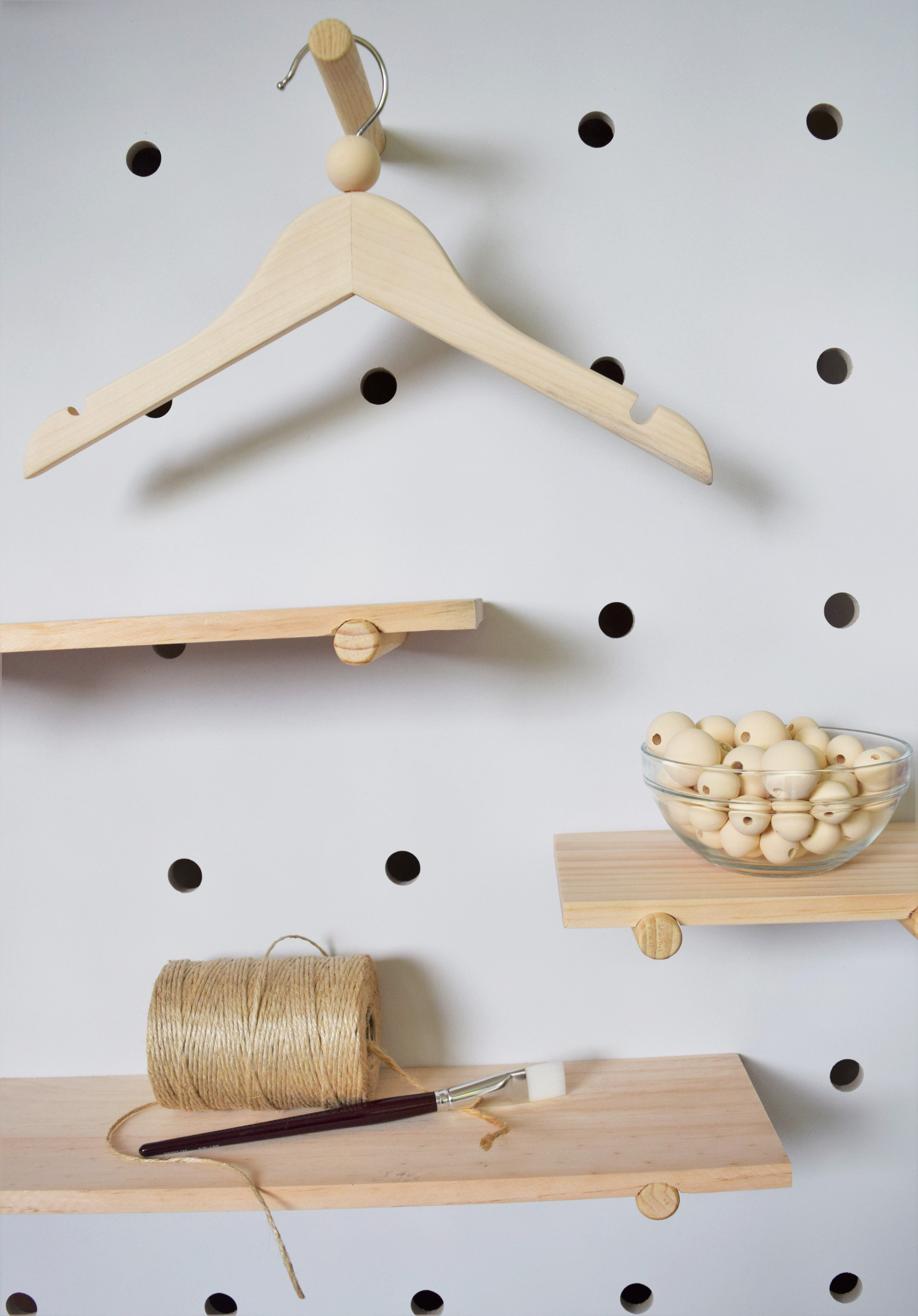 Baby Bebe Kids Children Wooden Bead Coat Hanger Antique White Feature Bead Kids Hangers Hanger Handmade Wooden