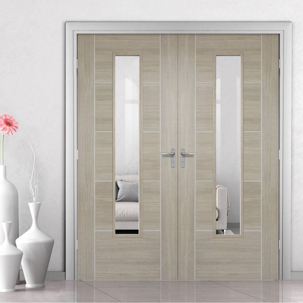 Laminate Vancouver Light Grey Door Pair with Clear Safety Glass - Prefinished & Laminate Vancouver Light Grey Door Pair with Clear Safety Glass ...