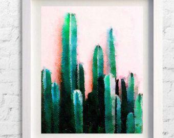 cactus print cactus art pink mexican arizona south western
