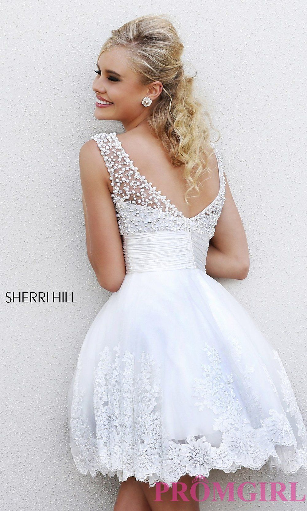 Image of short white sherri hill prom dress style sh