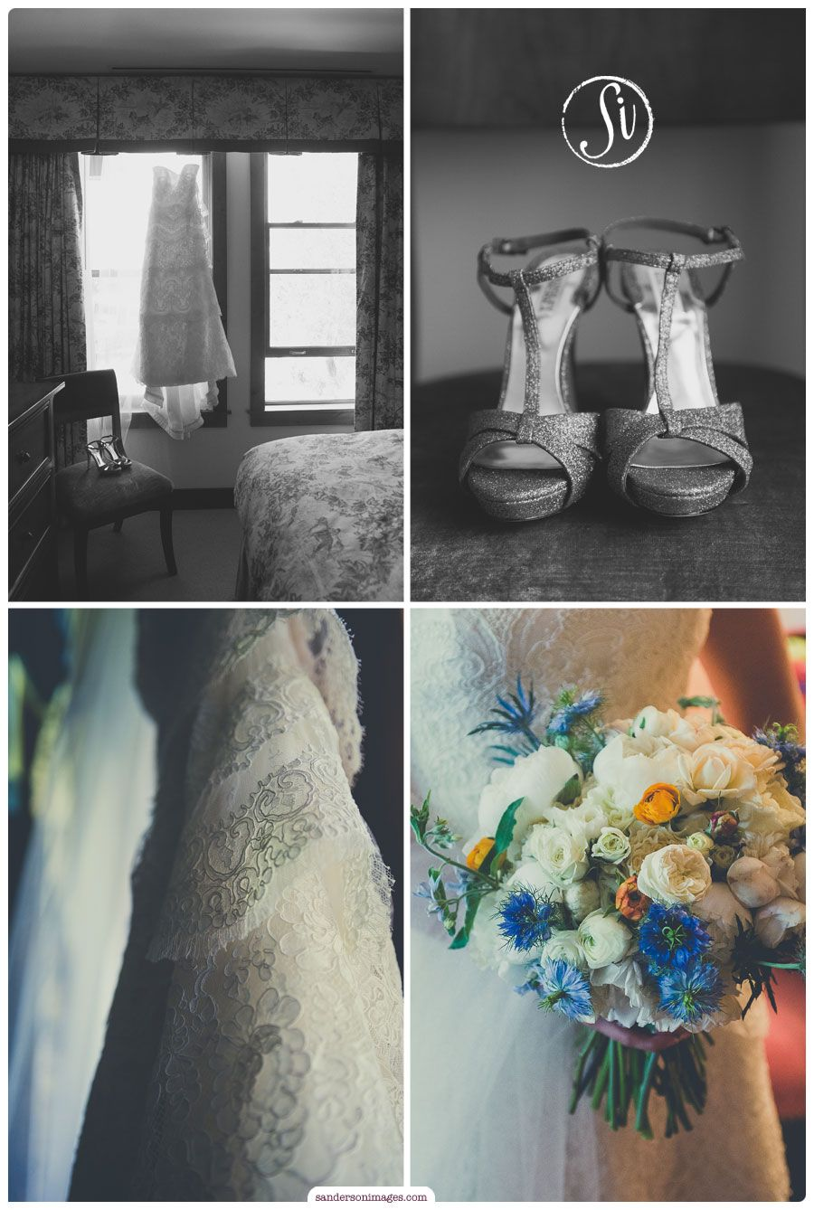 Lace wedding dress blue and white bridal bouquet and silver shoes
