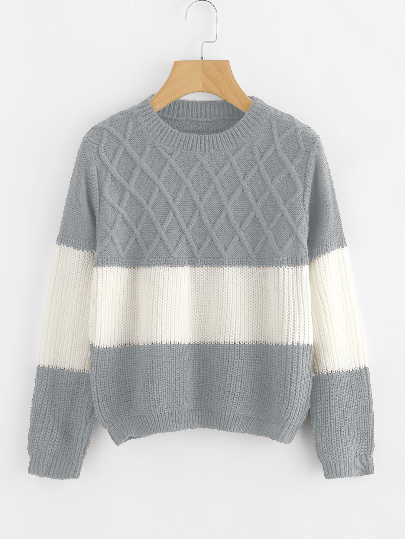 656ce94ab2cf96 Color Block Texture Knit SweaterFor Women-romwe