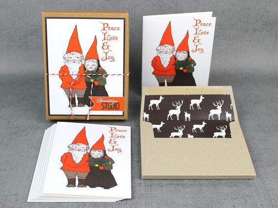 Christmas Cards Gnomes Boxed Set Of 8 By Hastingsstudio On Etsy Christmas Cards Cards Handmade