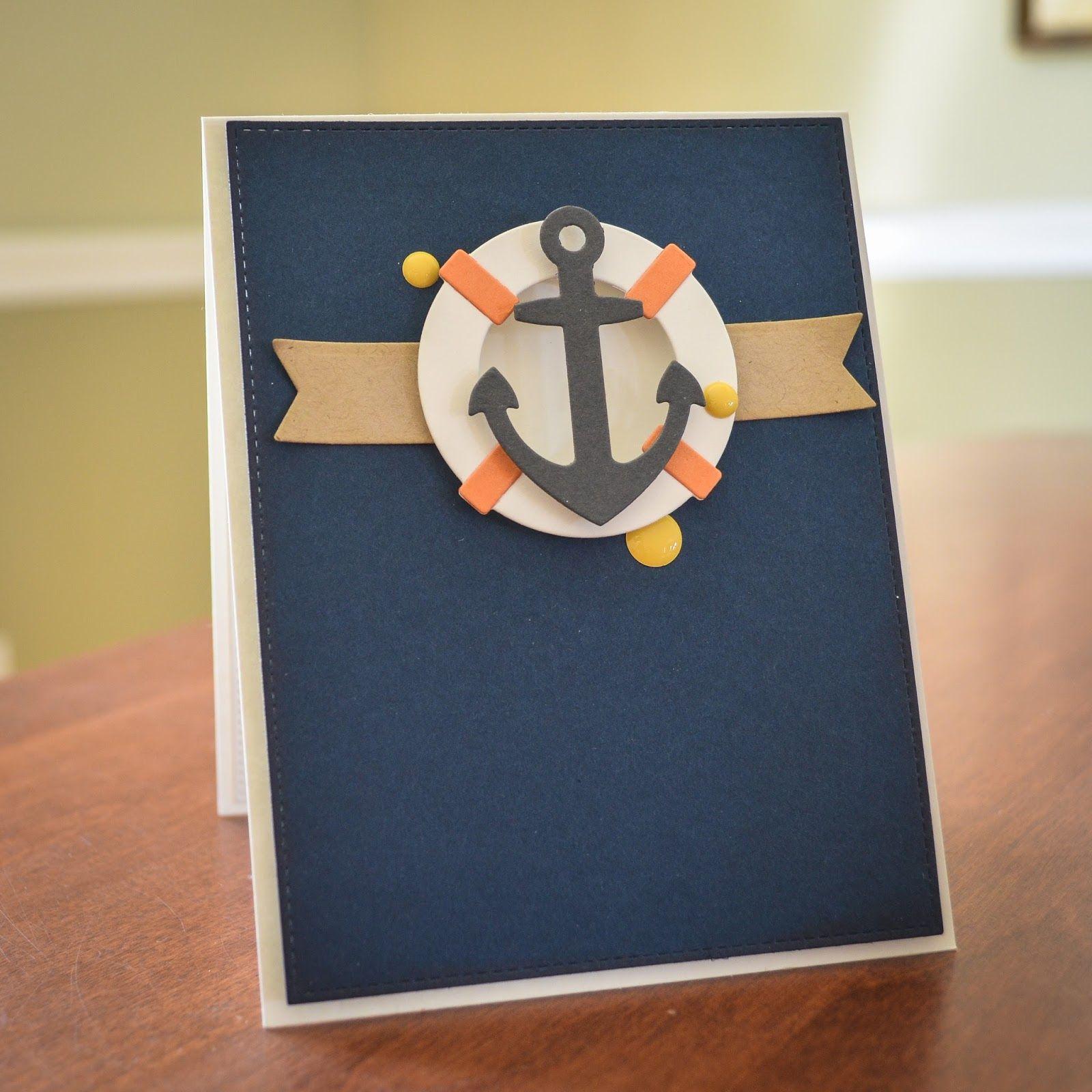 Nautical card MFT anchor & lifesaver- nautisk maritimt kort - marine - anker og redningskrans - Karte maritim  #MFTStamp