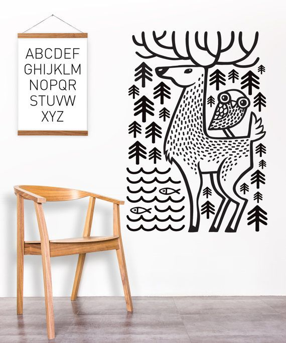 forest wall decal / black and white sticker / wall sticker / forest