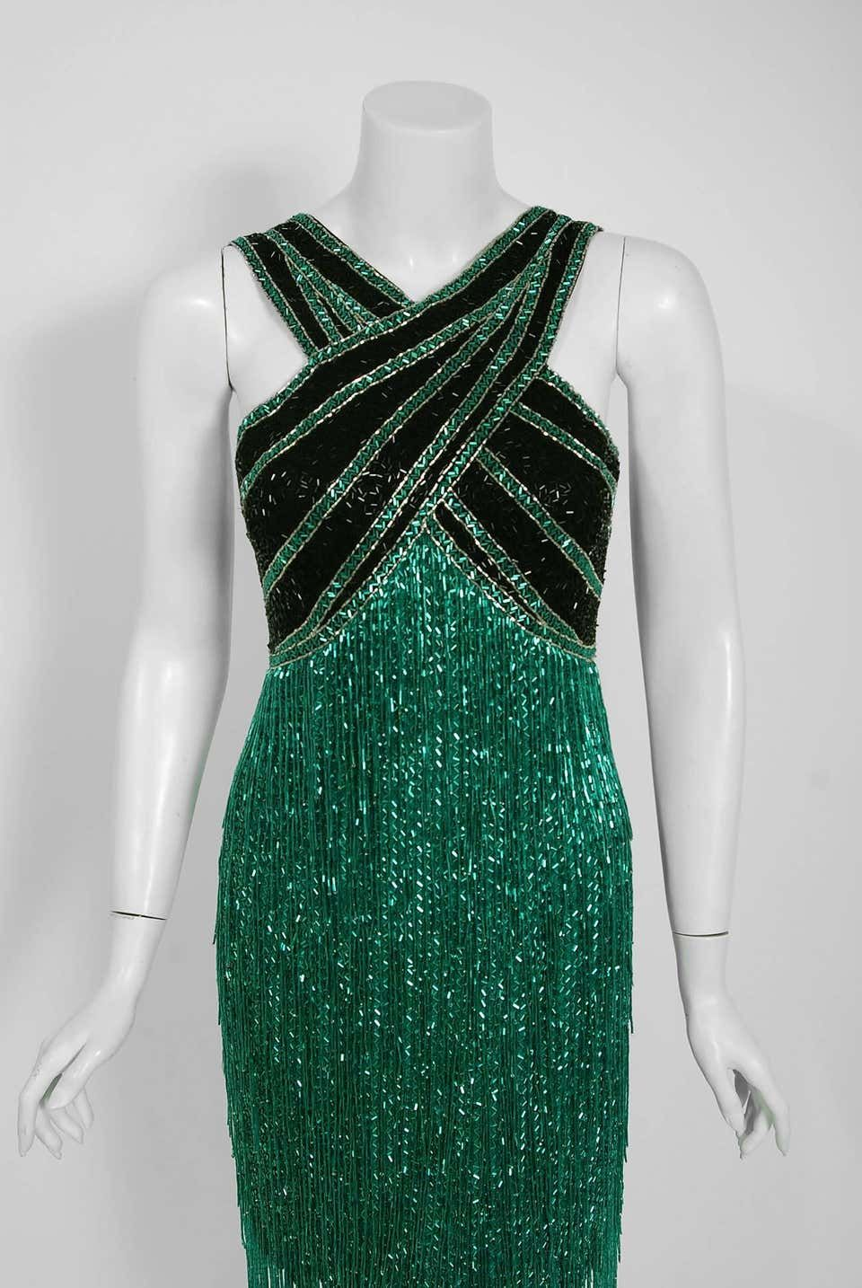 1979 Bob Mackie Couture Teal-Green and Black Beaded Fringe Backless Disco Dress #backlesscocktaildress