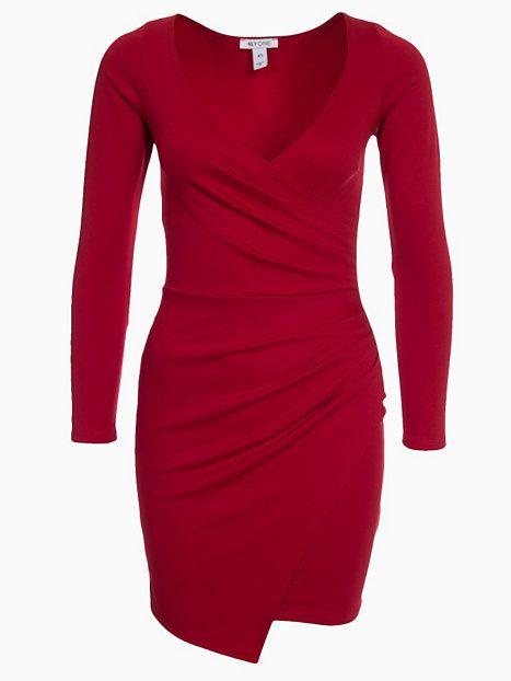 4d27885b6e87 Long Sleeve Wrap Bodycon - Nly One - Röd - Festklänningar - Kläder - Kvinna  -