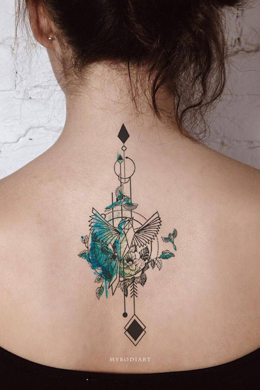Photo of Gone with the Wind Watercolor Arrow Bird Temporary Tattoo
