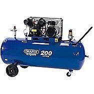 Draper 34383 200 Litre 230v 2.2kw V-Twin Belt-Driven Air Compressor