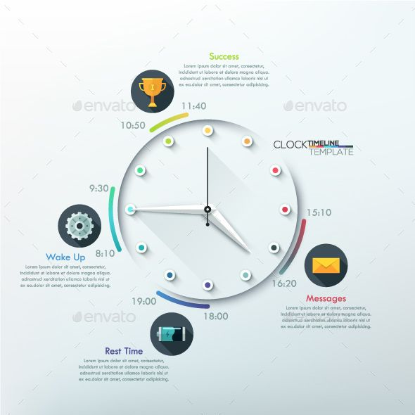 Infographic Timeline Template With Clock Infographic, Template - clock templates