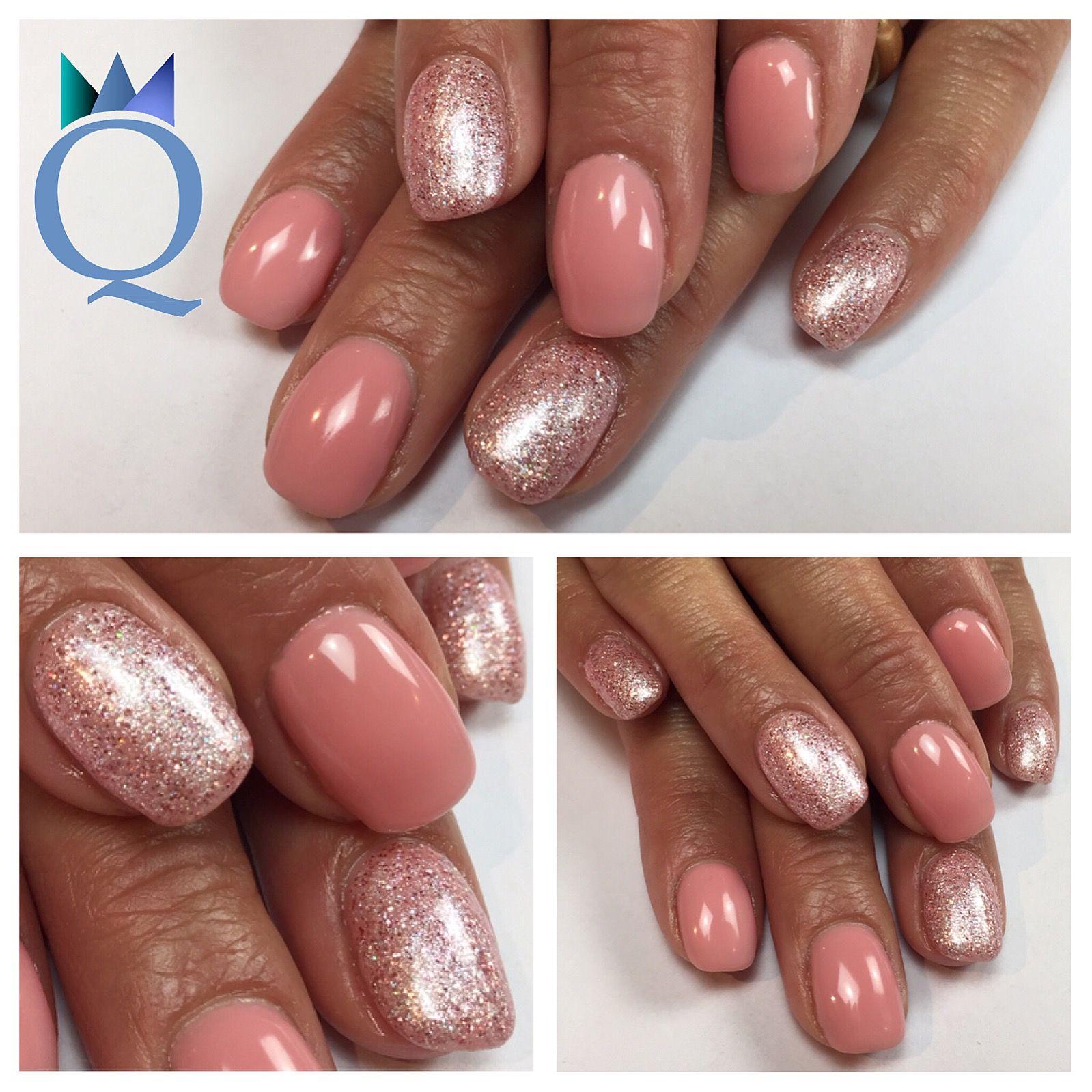 shortnails #gelnails #nails #rose #white #glitter #akyado ...