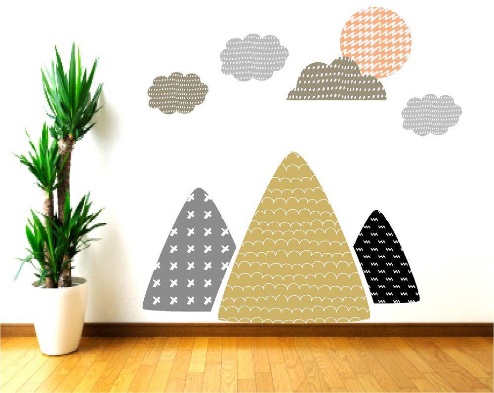 Mountain Wall Decor, Mountain Wall Decals for Nursery, Cloud Wall ...
