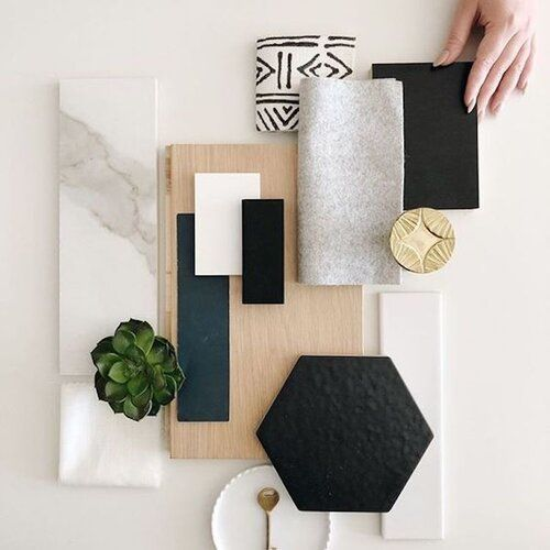 Renovation project - the mood board - this is where all your chosen materials come together to show the overall effect of the design - read on for more top renovation planing tips #wallpaper #tiles #fabric #paint #flooring #plants #interiordesign #cigalkaplaninteriors