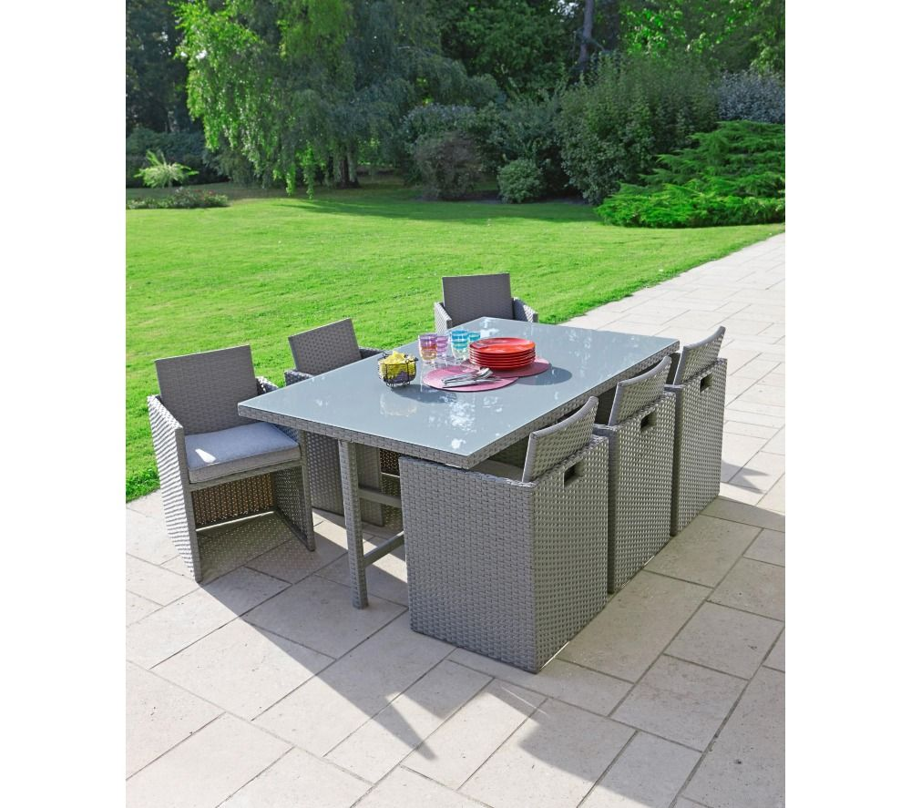 Carrefour set encastrable de jardin osaka 1 table 6 for Table et chaise de jardin resine tressee