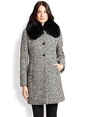Max Mara Studio Talco Fur-Collar Tweed Coat