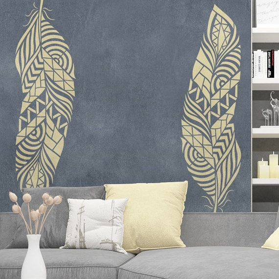 Feather wall stencil reusable feather decorative stencil spring wall stencil decorative - Pochoir mural chambre ...