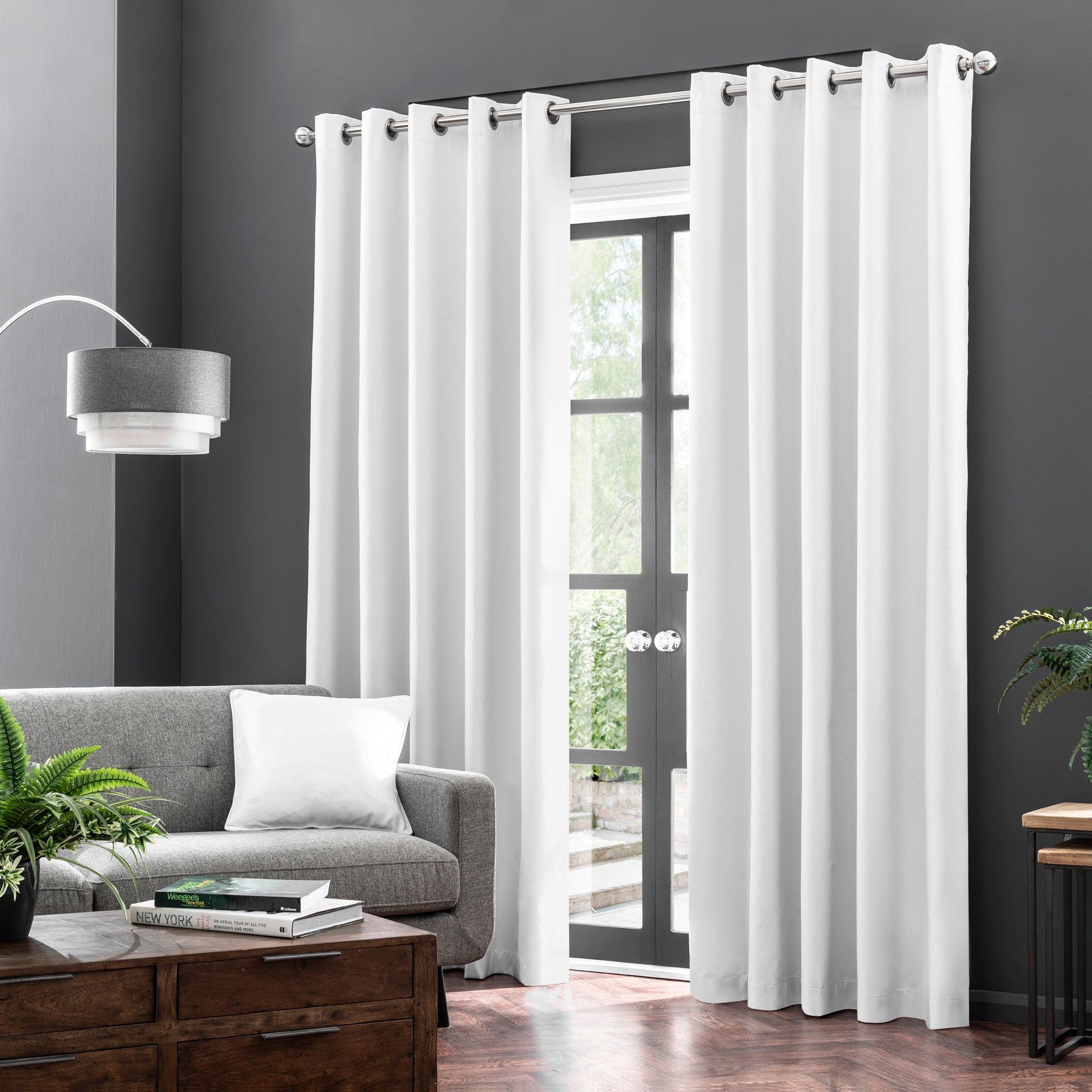 2x Blackout Curtains Eyelet Ring Top Living Room Bedroom Patio Outdoor Curtains