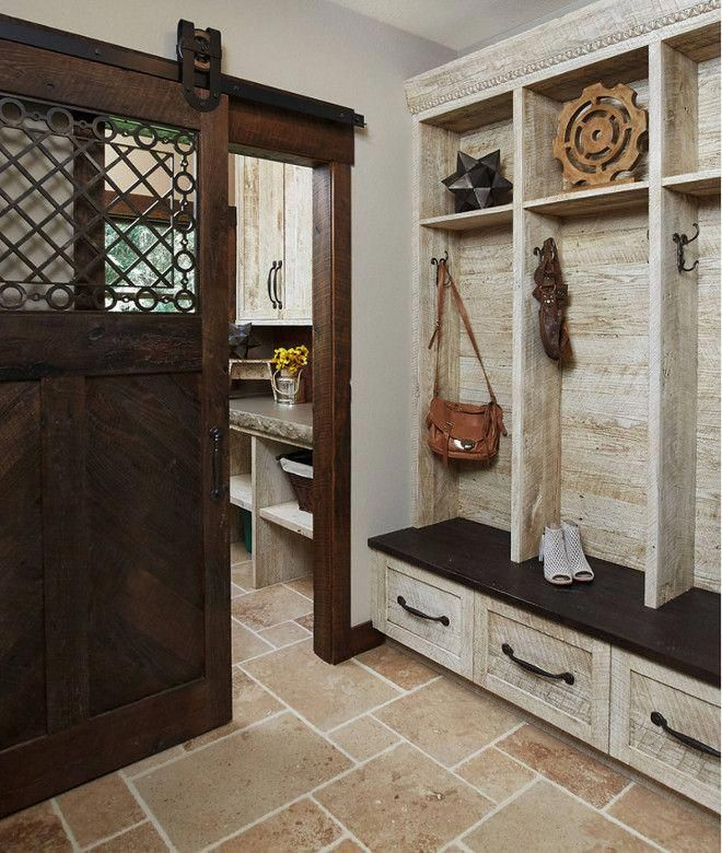Rustic Mudroom. Rustic Mudroom With Barn Hand Hewn And