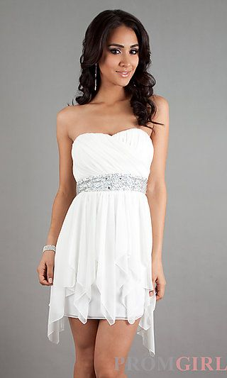 White Strapless High Low Dress at PromGirl.com