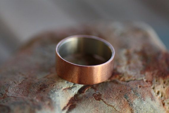 Sterling Silver and Copper wide ring  Engagement wide band  Mens wedding ring  Copper wide band  Personalised wide ring  Engraved ring