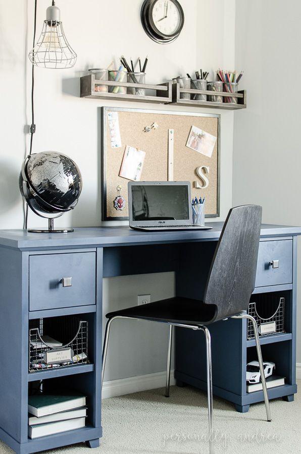 Denim Look Desk Makeover Chalk Paint Soft Wax New Hardware And Wire Storage