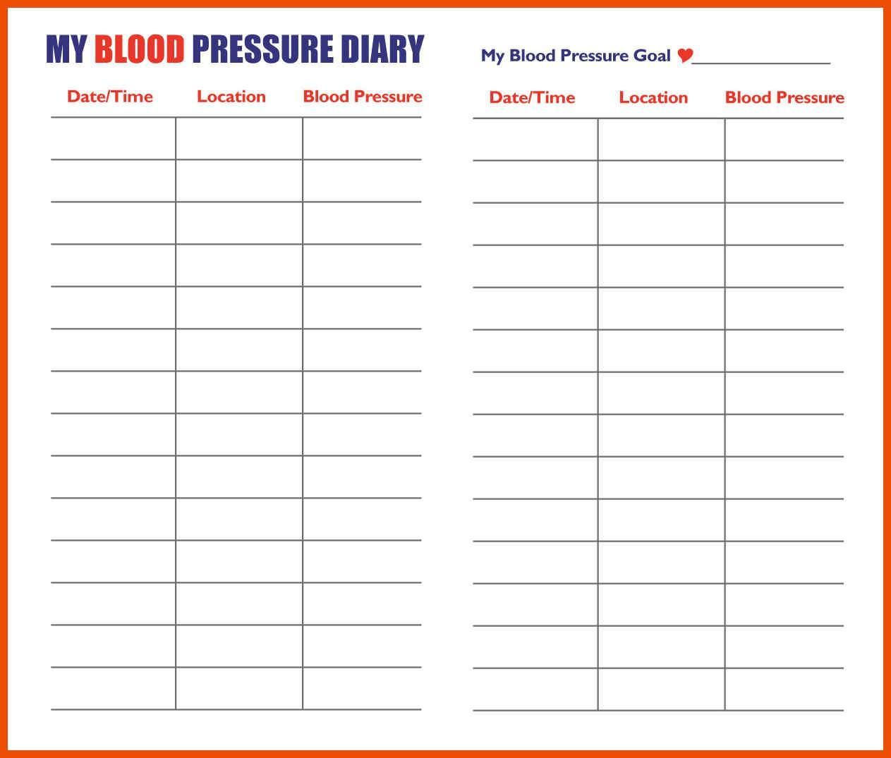 Printable Chart Printable Blood Pressure Chart Template 5 Printable