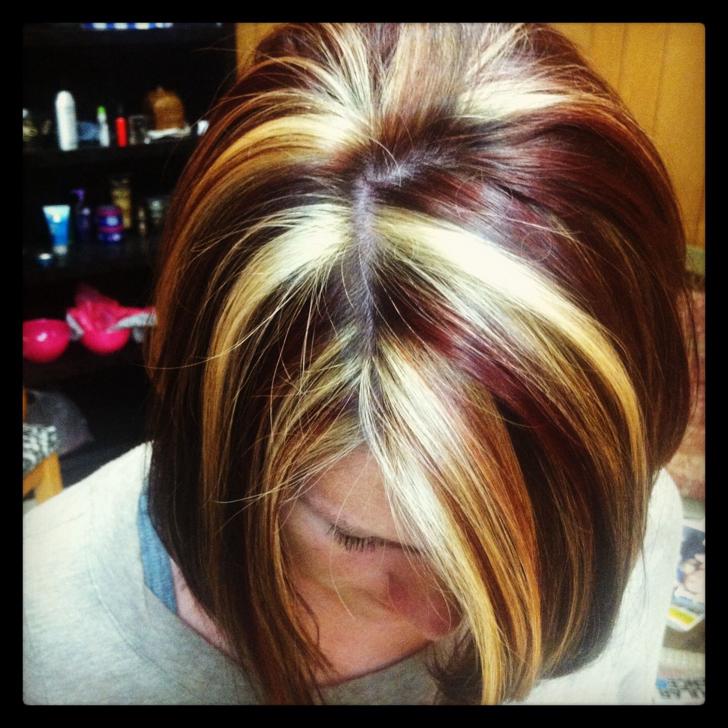 Red And Blonde Chunks Lizziebelle S Hair Salon
