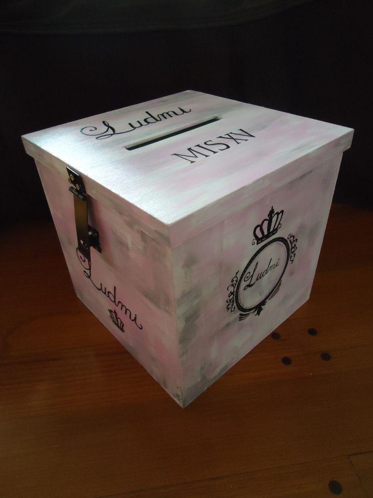 Caja Alcancia Urna Para Sobres Regalo 15 Anos Personalizada 1 630 00 Cajas Sobre De Regalo Alcancias