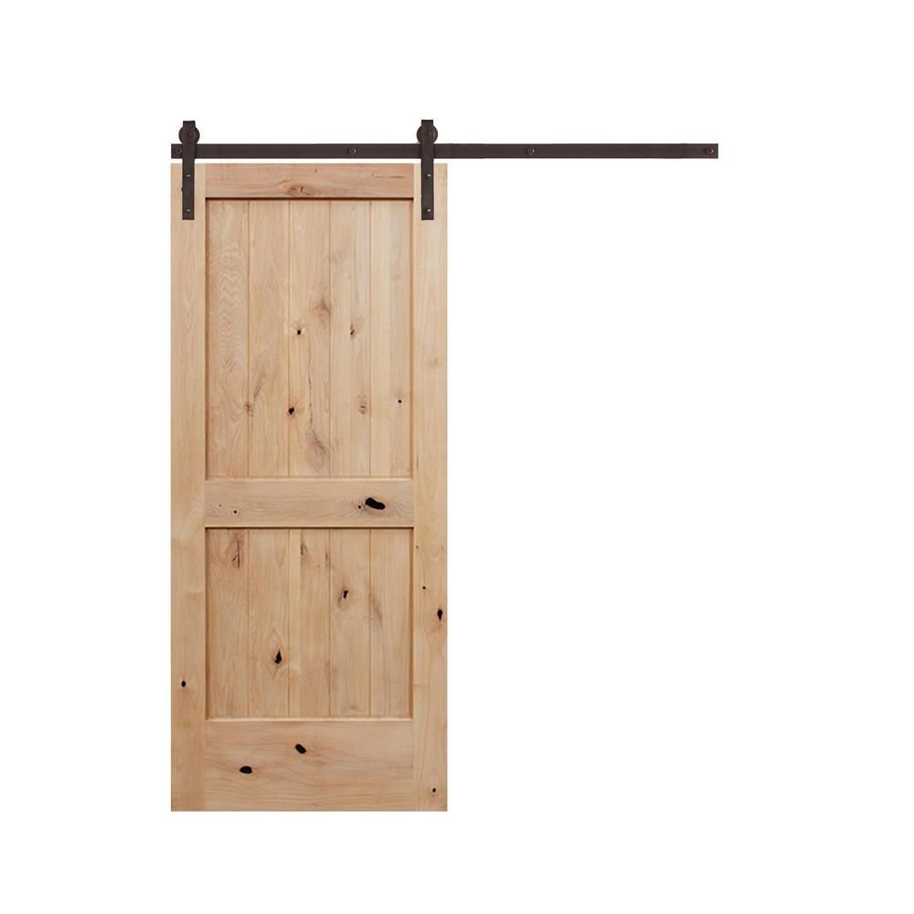 panel  groove unfinished knotty alder wood interior barn door with sliding bronze hardware kit light brown also pacific entries in  rh pinterest
