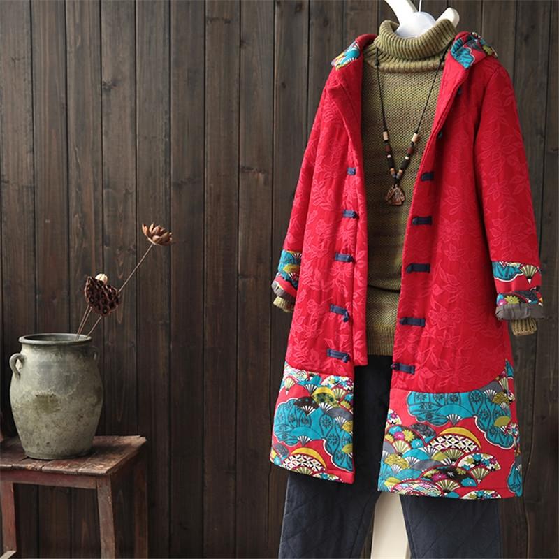 86.63$  Buy here - http://ali8v2.worldwells.pw/go.php?t=32717551505 - BOHOCHIC Original Vintage Parkas Ethnic Bohemian Cotton Linen Patchwork Plus Size Women Hooded Coat AZ0687D Boho Chic