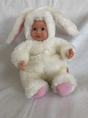 "Details about ANNE GEDDES BABY BUNNIES PLUSH DOLL 8.5"" White Fur Pink Ears 1998 Bunny Rabbit #bunnyplush"