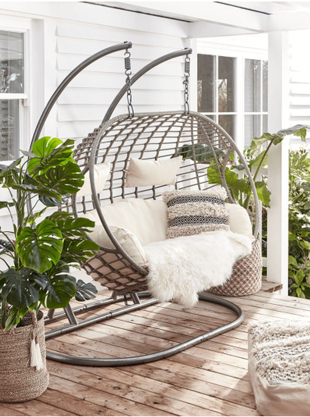Afordable Summer Balcony Decoration 43 Hanging Chair Outdoor Balcony Decor Garden Swing Seat
